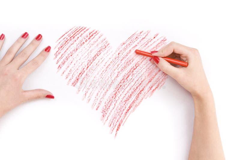 καρδιά χεριών σχεδίων στοκ φωτογραφία με δικαίωμα ελεύθερης χρήσης