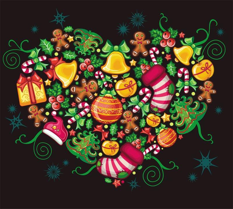 καρδιά Χριστουγέννων διανυσματική απεικόνιση