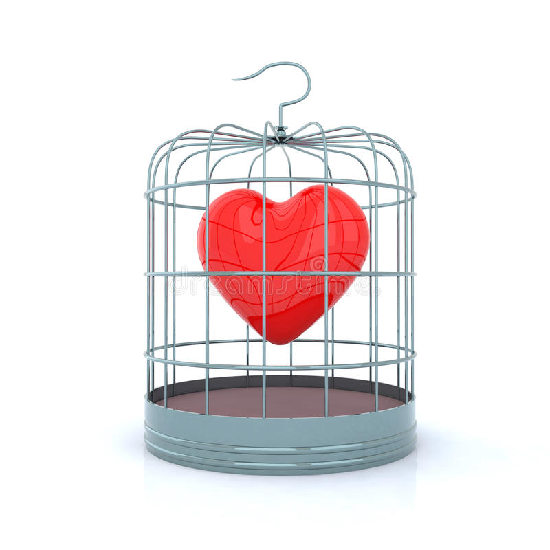 καρδιά birdcage μέσα ελεύθερη απεικόνιση δικαιώματος