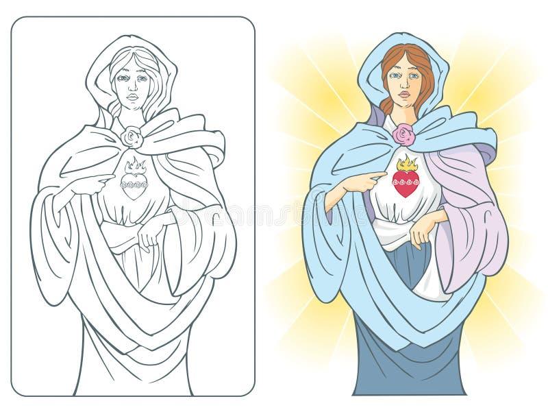 καρδιά Mary ιερή διανυσματική απεικόνιση