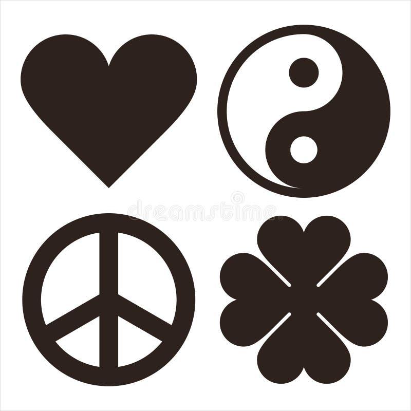 Καρδιά, Yin Yang, σύμβολο και τριφύλλι Symols ειρήνης απεικόνιση αποθεμάτων