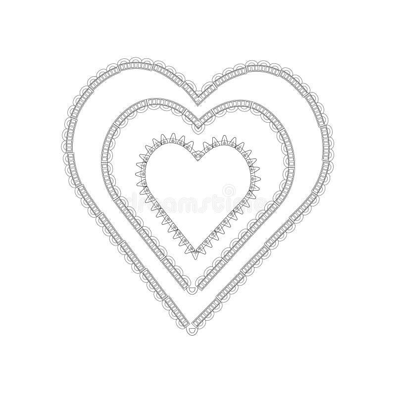 Καρδιά Zentangl με τη διακόσμηση ελεύθερη απεικόνιση δικαιώματος