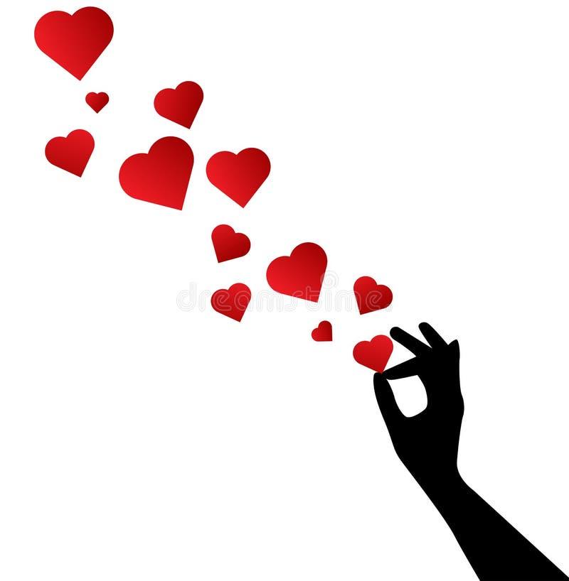 Καρδιές αγάπης με το χέρι σκιαγραφιών διανυσματική απεικόνιση