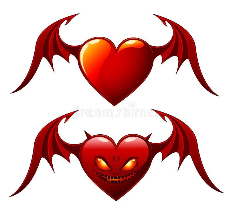 καρδιές δύο φτερά διανυσματική απεικόνιση