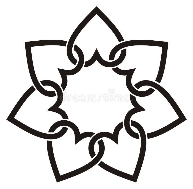 καρδιές επτά λουλουδιώ&n διανυσματική απεικόνιση