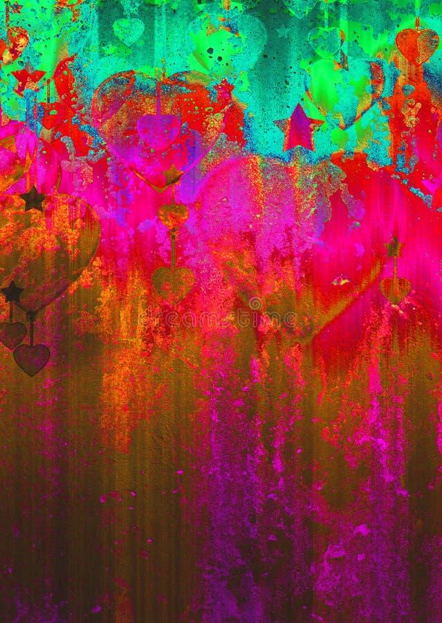 Καρδιές και αστέρια στη σύσταση grunge απεικόνιση αποθεμάτων
