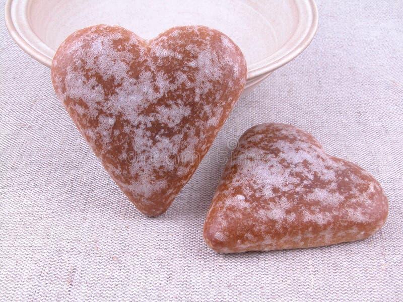 καρδιές μελοψωμάτων στοκ εικόνες με δικαίωμα ελεύθερης χρήσης