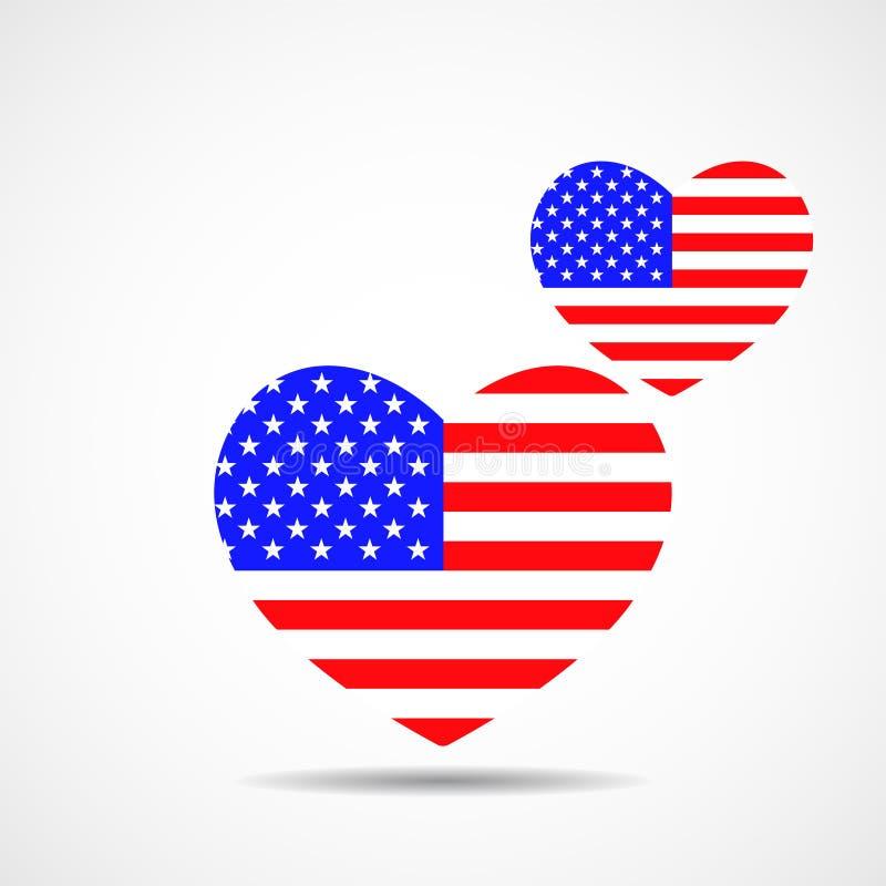 Καρδιές με σημαία των Ηνωμένων Πολιτειών ελεύθερη απεικόνιση δικαιώματος