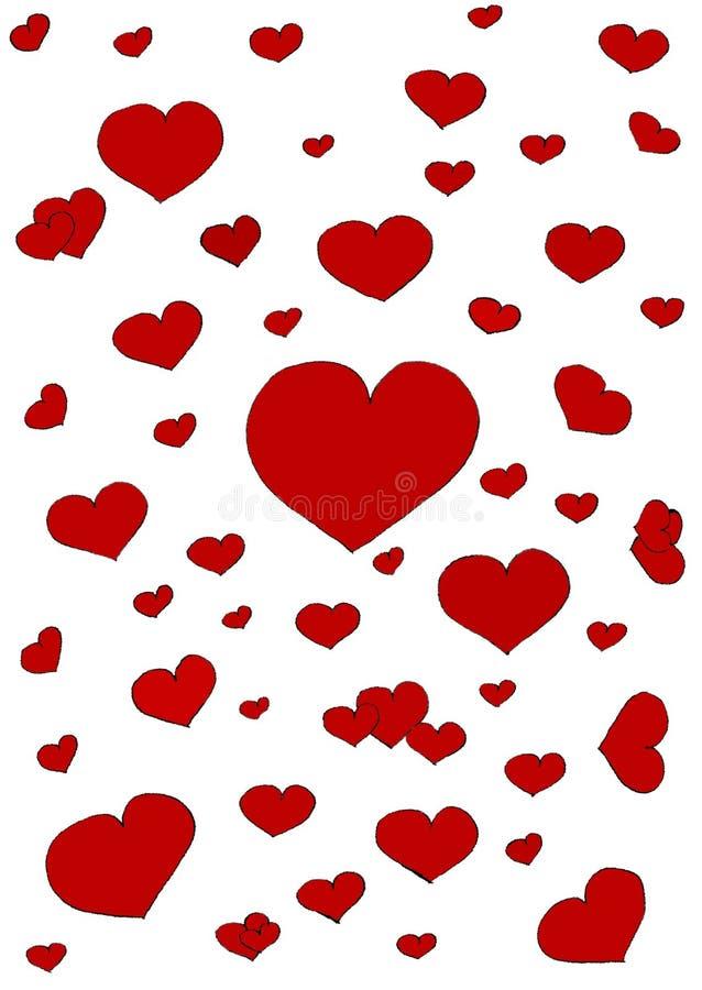 Καρδιές στην άσπρη ανασκόπηση στοκ εικόνα