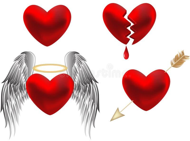 καρδιές σχεδίου που τίθ&eps απεικόνιση αποθεμάτων