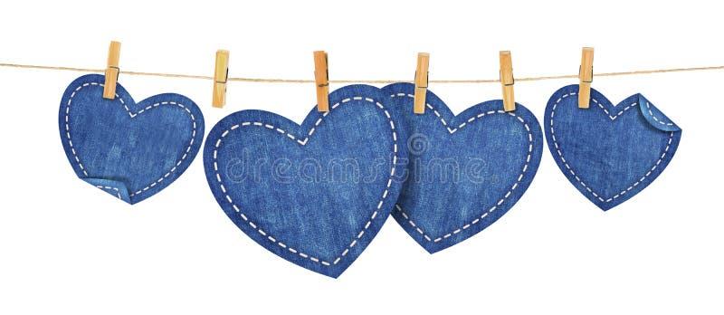 Καρδιές του Jean στο σχοινί ελεύθερη απεικόνιση δικαιώματος