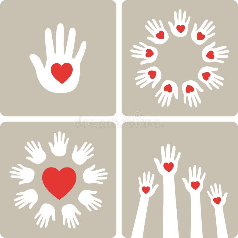 καρδιές χεριών επίσης corel σύρετε το διάνυσμα απεικόνισης ελεύθερη απεικόνιση δικαιώματος
