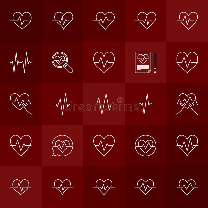 Καρδιακά εικονίδια κτύπου της καρδιάς περιλήψεων έννοιας κύκλων διανυσματικά ελάχιστα ελεύθερη απεικόνιση δικαιώματος