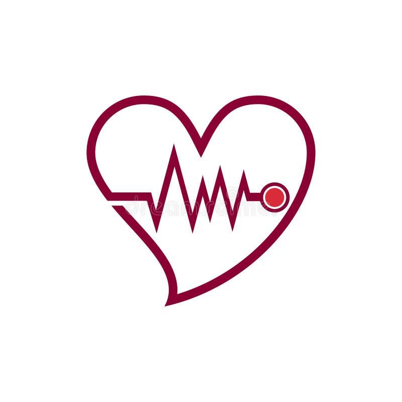 Καρδιακό εικονίδιο λογότυπων γραμμών προσοχής αγάπης γιατρών καρδιών κτύπου της καρδιάς ελεύθερη απεικόνιση δικαιώματος