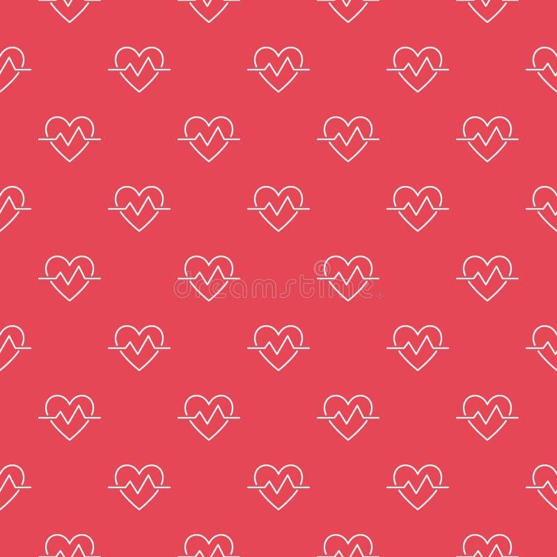 Καρδιακό κόκκινο άνευ ραφής διανυσματικό σχέδιο περιλήψεων κύκλων ελεύθερη απεικόνιση δικαιώματος