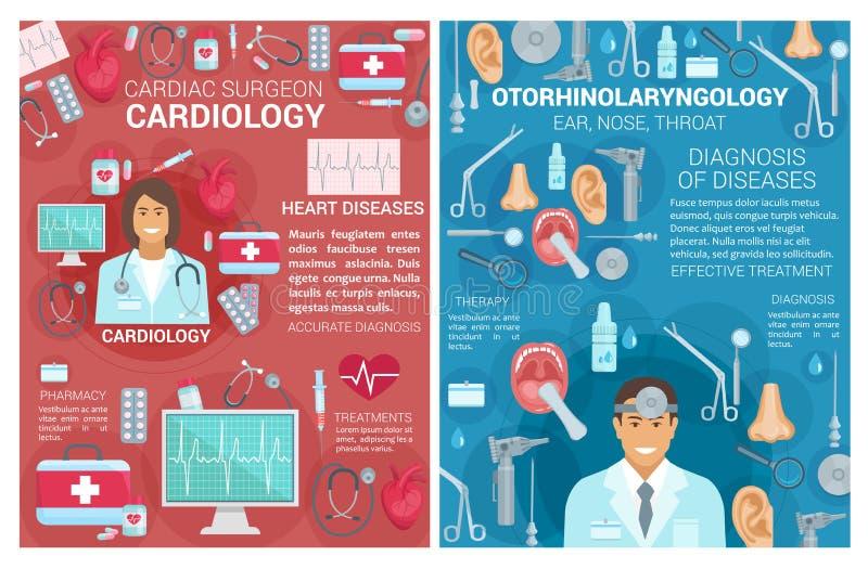 Καρδιολογία, αφίσες κλινικών ιατρικής ωτολαρυγγολογίας ελεύθερη απεικόνιση δικαιώματος