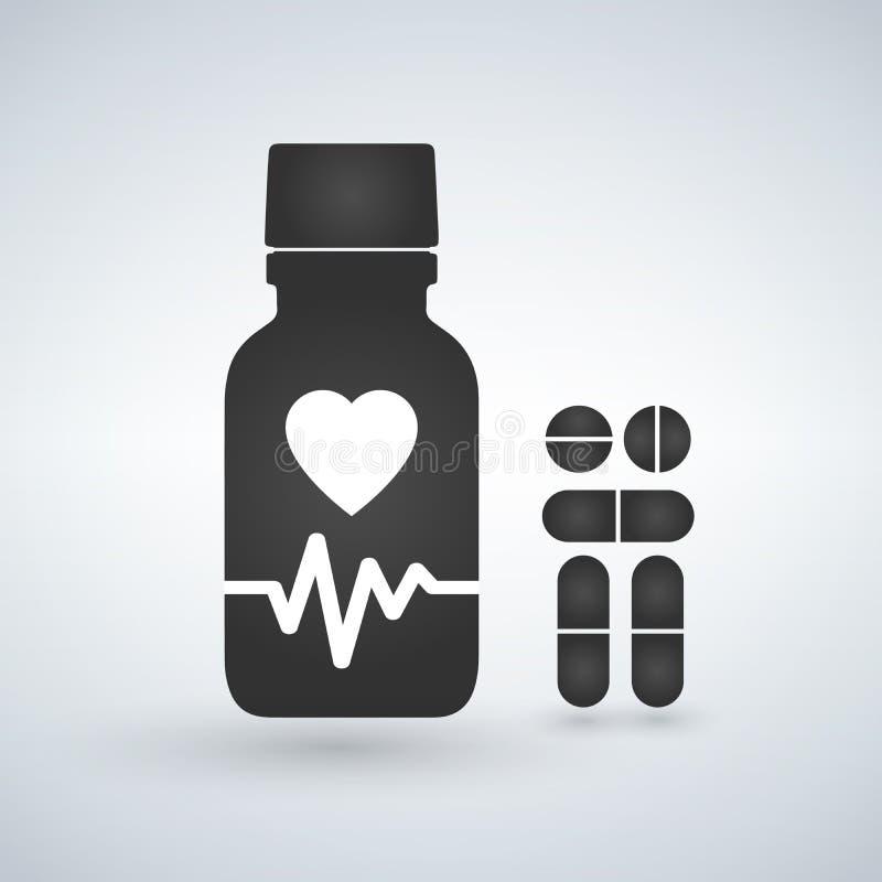 Καρδιο εικονίδιο μπουκαλιών χαπιών καρδιών Σύγχρονο μπουκάλι χαπιών για τα χάπια ή τις κάψες Επίπεδη απεικόνιση ύφους που απομονώ απεικόνιση αποθεμάτων