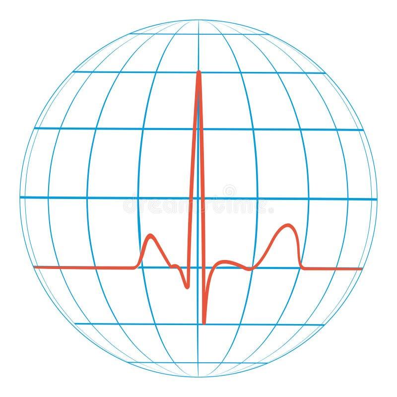 Καρδιο σφυγμός καρδιών πλανήτη Γη καρδιογράφημα διανυσματική γραμμή του σφυγμού με τον πλανήτη απεικόνιση αποθεμάτων