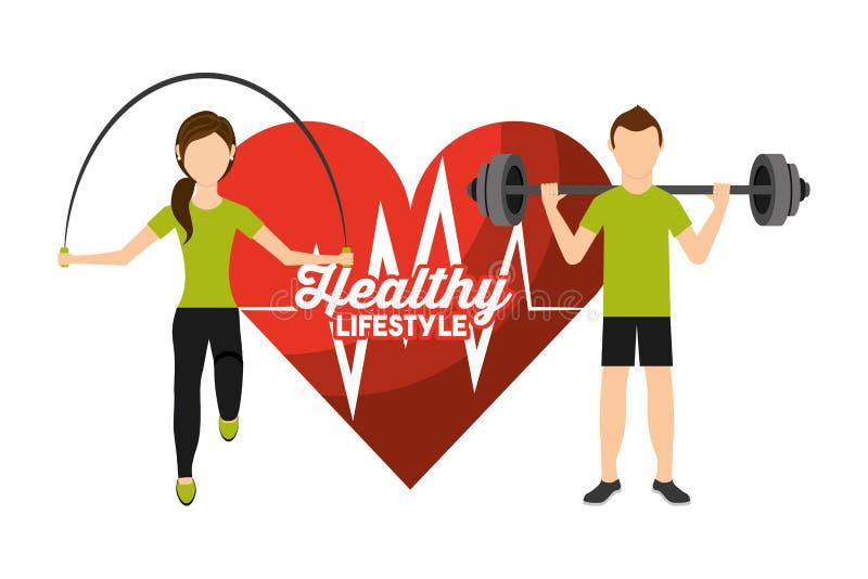 Καρδιών αθλητικής δραστηριότητας ανδρών και γυναικών ποσοστού υγιής τρόπος ζωής διανυσματική απεικόνιση