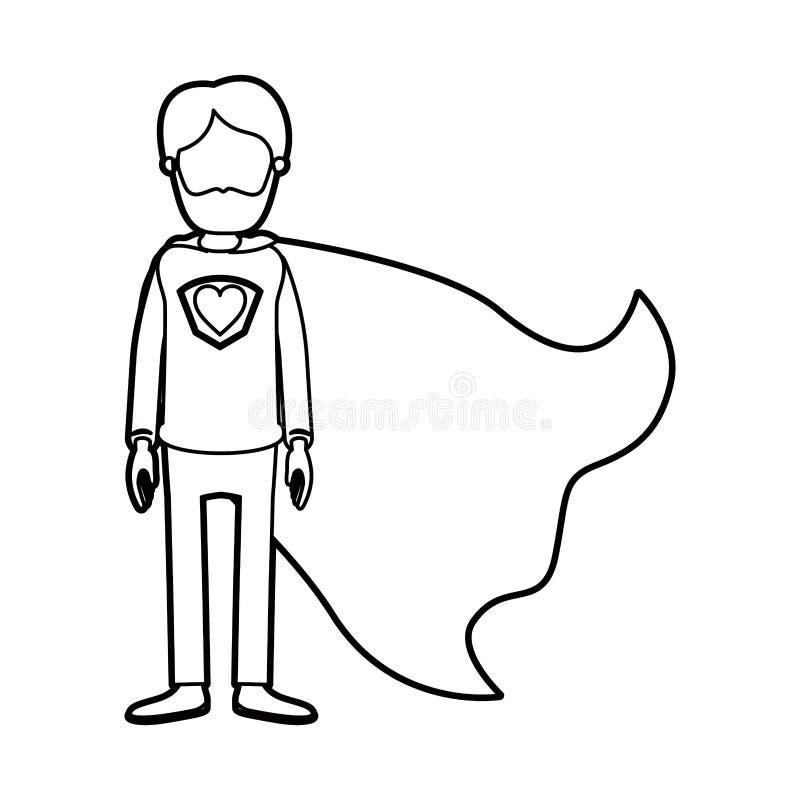 Καρικατουρών παχύς περιγράμματος απρόσωπος πλήρης ήρωας ατόμων σωμάτων γενειοφόρος έξοχος με το σύμβολο καρδιών σε ομοιόμορφο ελεύθερη απεικόνιση δικαιώματος