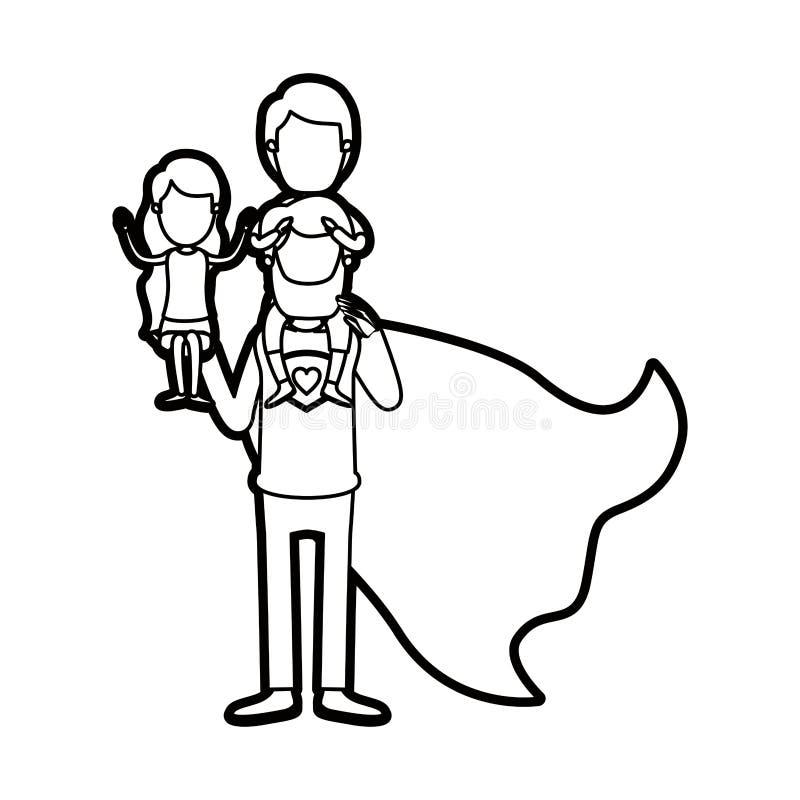 Καρικατουρών παχύς περιγράμματος απρόσωπος πλήρης ήρωας μπαμπάδων σωμάτων έξοχος με το κορίτσι σε ετοιμότητα του και το αγόρι στη ελεύθερη απεικόνιση δικαιώματος