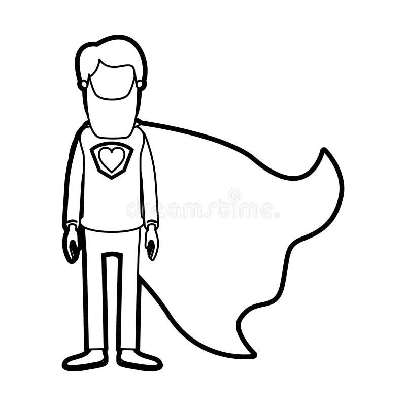 Καρικατουρών παχύς περιγράμματος απρόσωπος πλήρης σωμάτων μακρύς ήρωας ατόμων γενειάδων έξοχος με το σύμβολο καρδιών σε ομοιόμορφ ελεύθερη απεικόνιση δικαιώματος