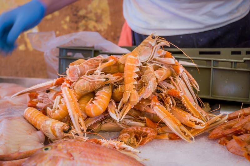 Καρκινοειδή για την πώληση σε μια αγορά ψαριών στοκ εικόνες