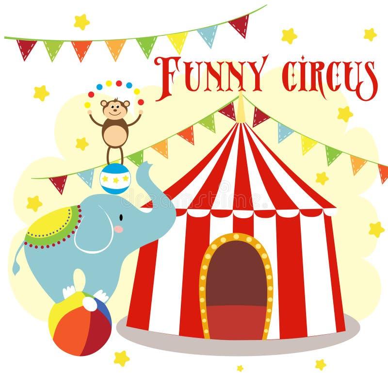 Καρναβάλι με τις ριγωτές σκηνές, το εύθυμο τσίρκο, τον ελέφαντα, το λιοντάρι και τον πίθηκο ελεύθερη απεικόνιση δικαιώματος