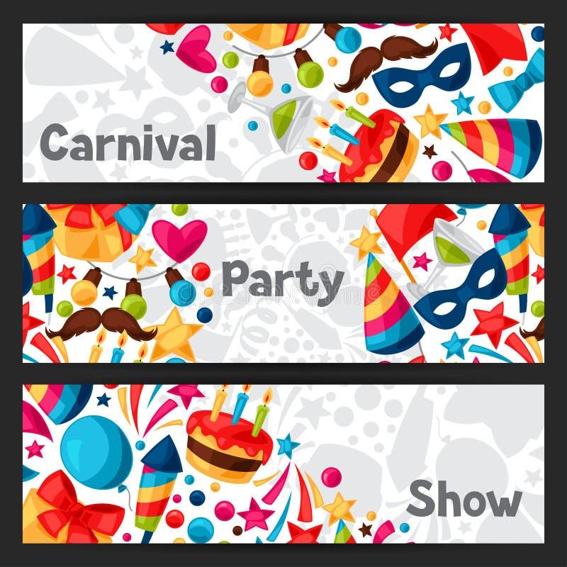 Καρναβάλι παρουσιάζουν και τα εμβλήματα κομμάτων με τον εορτασμό ελεύθερη απεικόνιση δικαιώματος