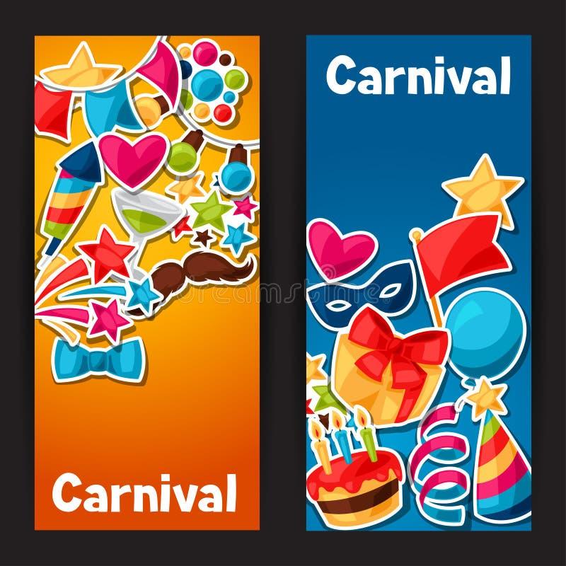 Καρναβάλι παρουσιάζουν και τα εμβλήματα κομμάτων με τον εορτασμό διανυσματική απεικόνιση