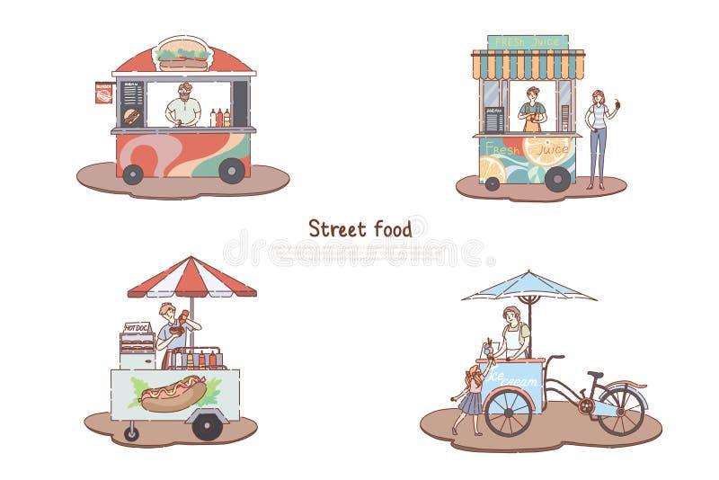 Καροτσάκια περίπτερων, χάμπουργκερ, χυμού, χοτ-ντογκ και παγωτού μεσημεριανού γεύματος οδών, take-$l*away υπηρεσία, εύγευστο πρόχ απεικόνιση αποθεμάτων