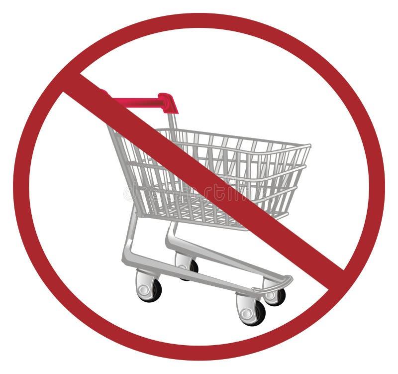 Καροτσάκι αγοράς στην απαγόρευση απεικόνιση αποθεμάτων