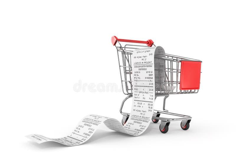 Καροτσάκι αγορών με τις μακροχρόνιες παραλαβές διανυσματική απεικόνιση