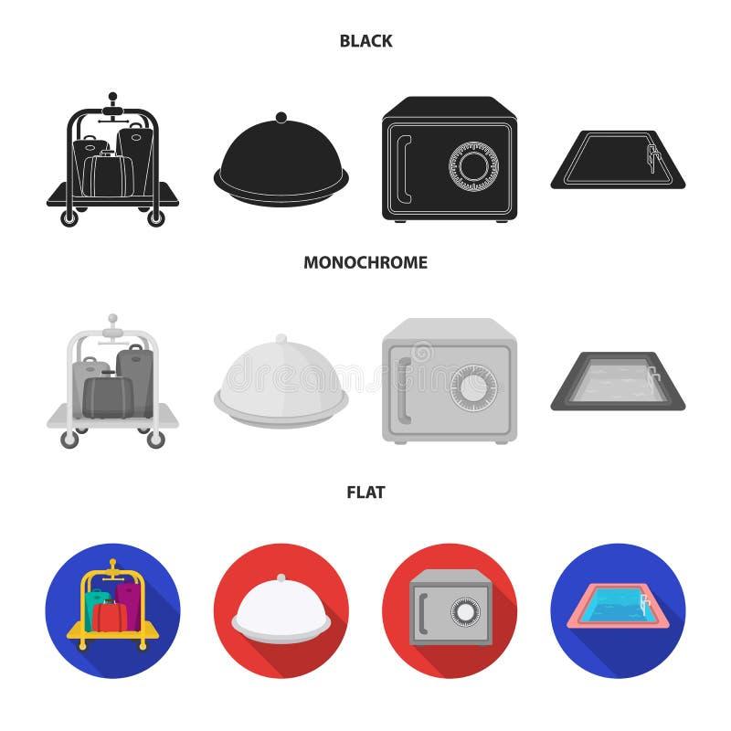 Καροτσάκι με τις αποσκευές, χρηματοκιβώτιο, πισίνα, συμπλέκτης Καθορισμένα εικονίδια συλλογής ξενοδοχείων στο μαύρο, επίπεδο, μον απεικόνιση αποθεμάτων
