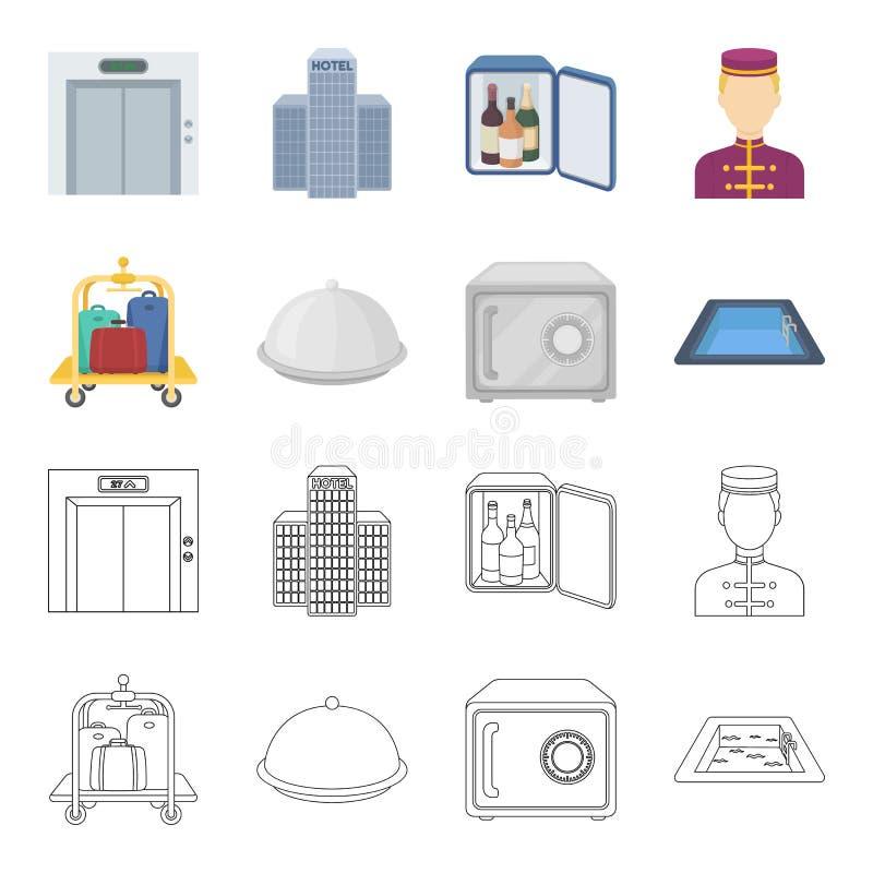 Καροτσάκι με τις αποσκευές, χρηματοκιβώτιο, πισίνα, συμπλέκτης Καθορισμένα εικονίδια συλλογής ξενοδοχείων στα κινούμενα σχέδια, δ απεικόνιση αποθεμάτων