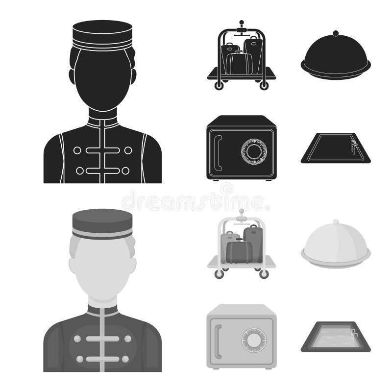 Καροτσάκι με τις αποσκευές, χρηματοκιβώτιο, πισίνα, συμπλέκτης Καθορισμένα εικονίδια συλλογής ξενοδοχείων στο Μαύρο, monochrom δι απεικόνιση αποθεμάτων