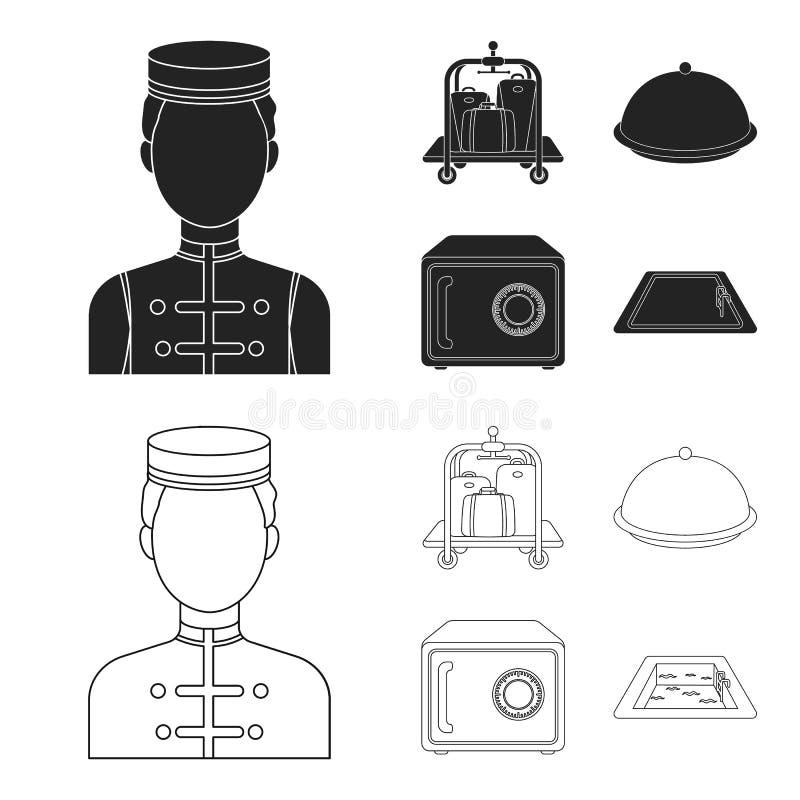 Καροτσάκι με τις αποσκευές, χρηματοκιβώτιο, πισίνα, συμπλέκτης Καθορισμένα εικονίδια συλλογής ξενοδοχείων στο Μαύρο, διανυσματικό ελεύθερη απεικόνιση δικαιώματος