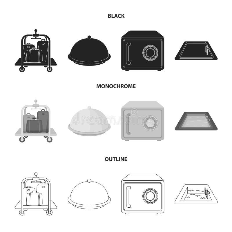 Καροτσάκι με τις αποσκευές, χρηματοκιβώτιο, πισίνα, συμπλέκτης Καθορισμένα εικονίδια συλλογής ξενοδοχείων στο μαύρο, μονοχρωματικ απεικόνιση αποθεμάτων