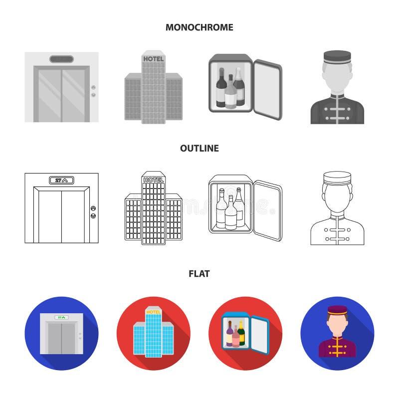 Καροτσάκι με τις αποσκευές, χρηματοκιβώτιο, πισίνα, συμπλέκτης Καθορισμένα εικονίδια συλλογής ξενοδοχείων στο επίπεδο, περίληψη,  απεικόνιση αποθεμάτων