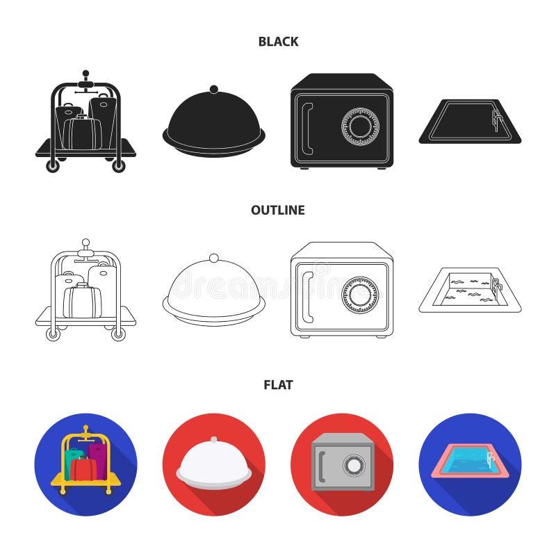 Καροτσάκι με τις αποσκευές, χρηματοκιβώτιο, πισίνα, συμπλέκτης Καθορισμένα εικονίδια συλλογής ξενοδοχείων στο Μαύρο, επίπεδος, δι διανυσματική απεικόνιση
