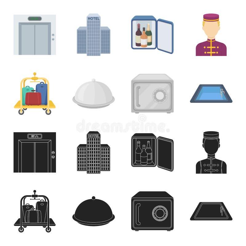 Καροτσάκι με τις αποσκευές, χρηματοκιβώτιο, πισίνα, συμπλέκτης Καθορισμένα εικονίδια συλλογής ξενοδοχείων στο Μαύρο, διανυσματικό απεικόνιση αποθεμάτων