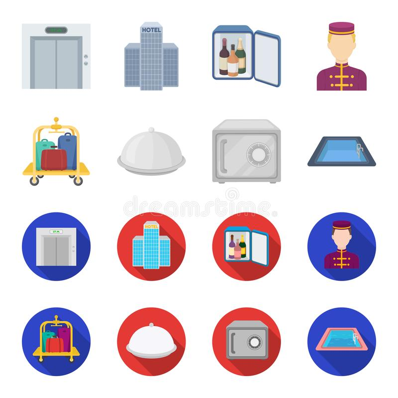 Καροτσάκι με τις αποσκευές, χρηματοκιβώτιο, πισίνα, συμπλέκτης Καθορισμένα εικονίδια συλλογής ξενοδοχείων στα κινούμενα σχέδια, ε ελεύθερη απεικόνιση δικαιώματος