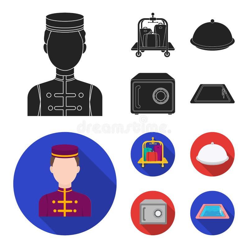 Καροτσάκι με τις αποσκευές, χρηματοκιβώτιο, πισίνα, συμπλέκτης Καθορισμένα εικονίδια συλλογής ξενοδοχείων στο μαύρο, επίπεδο απόθ διανυσματική απεικόνιση