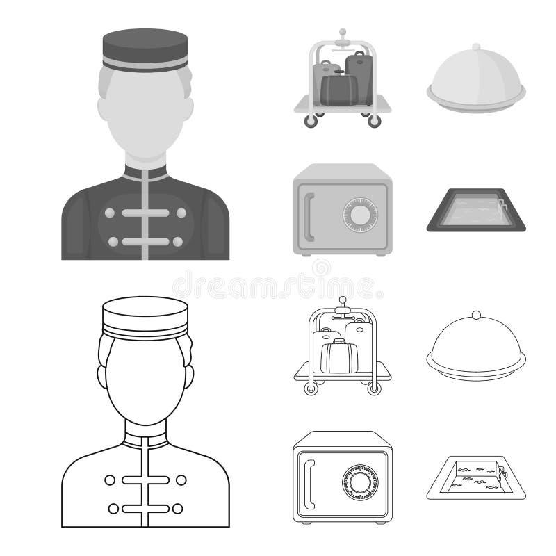 Καροτσάκι με τις αποσκευές, χρηματοκιβώτιο, πισίνα, συμπλέκτης Καθορισμένα εικονίδια συλλογής ξενοδοχείων στην περίληψη, μονοχρωμ ελεύθερη απεικόνιση δικαιώματος