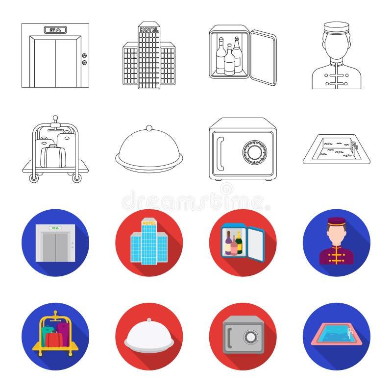Καροτσάκι με τις αποσκευές, χρηματοκιβώτιο, πισίνα, συμπλέκτης Καθορισμένα εικονίδια συλλογής ξενοδοχείων στην περίληψη, επίπεδο  απεικόνιση αποθεμάτων