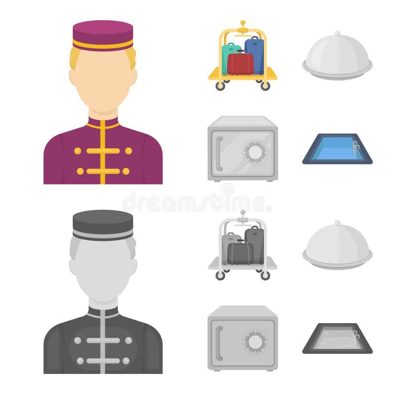 Καροτσάκι με τις αποσκευές, χρηματοκιβώτιο, πισίνα, συμπλέκτης Καθορισμένα εικονίδια συλλογής ξενοδοχείων στα κινούμενα σχέδια, μ απεικόνιση αποθεμάτων