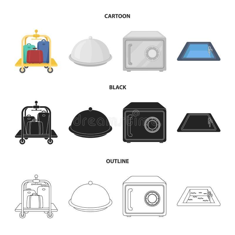 Καροτσάκι με τις αποσκευές, χρηματοκιβώτιο, πισίνα, συμπλέκτης Καθορισμένα εικονίδια συλλογής ξενοδοχείων στα κινούμενα σχέδια, ο απεικόνιση αποθεμάτων