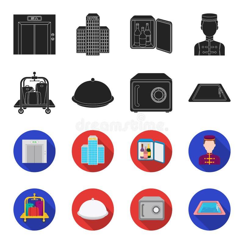 Καροτσάκι με τις αποσκευές, χρηματοκιβώτιο, πισίνα, συμπλέκτης Καθορισμένα εικονίδια συλλογής ξενοδοχείων στο Μαύρο, flet διανυσμ απεικόνιση αποθεμάτων