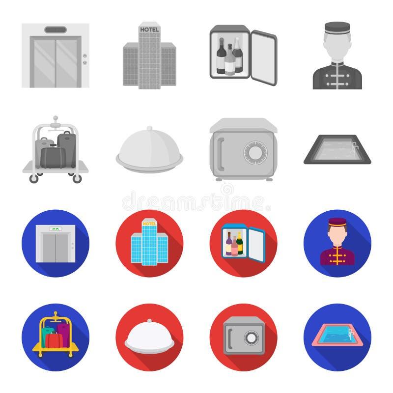 Καροτσάκι με τις αποσκευές, χρηματοκιβώτιο, πισίνα, συμπλέκτης Καθορισμένα εικονίδια συλλογής ξενοδοχείων στο μονοχρωματικό, επίπ ελεύθερη απεικόνιση δικαιώματος