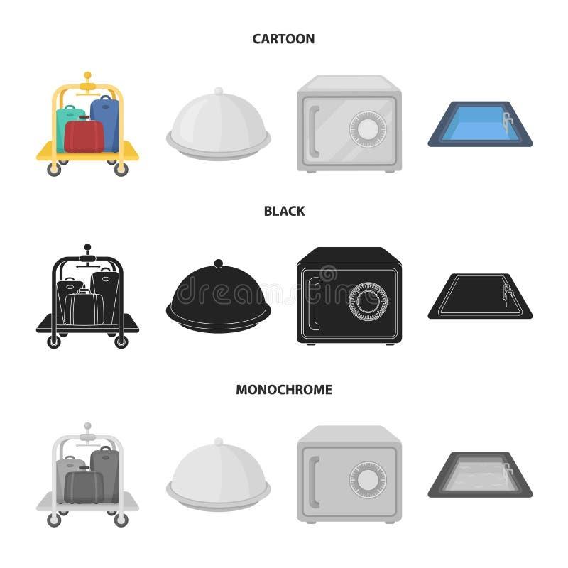 Καροτσάκι με τις αποσκευές, χρηματοκιβώτιο, πισίνα, συμπλέκτης Καθορισμένα εικονίδια συλλογής ξενοδοχείων στα κινούμενα σχέδια, μ ελεύθερη απεικόνιση δικαιώματος